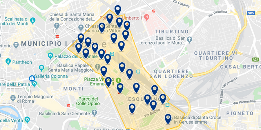 Hotels near Termini on map